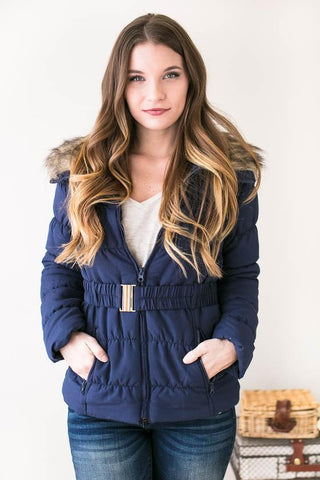 Puffing Season Quilted Jacket with Fur - Navy