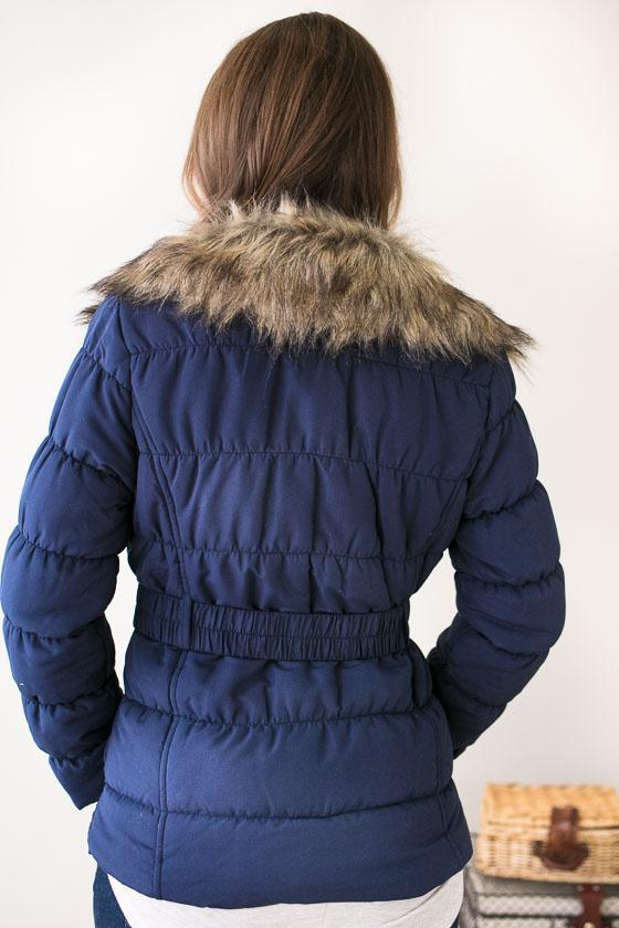 Outer Wear - Puffing Season Quilted Jacket With Fur - Navy