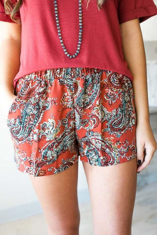 Pretty in Paisley Shorts with Pockets