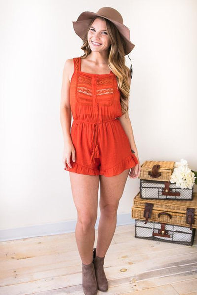 Playsuits Orange You Glad Rust Romper - Lotus Boutique