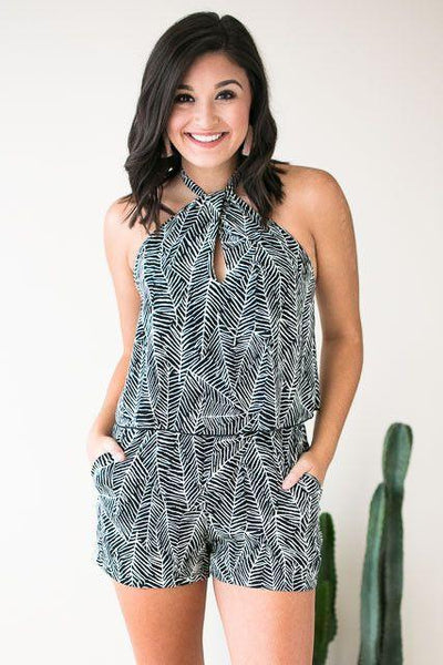 Playsuits Plot Twist Halter Neck Romper - Black Palm Print - Lotus Boutique