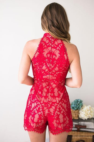 Playsuits - Skylar Red Scallop Lace Romper