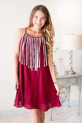 Rah-Rah Tassel Swing Dress - Crimson