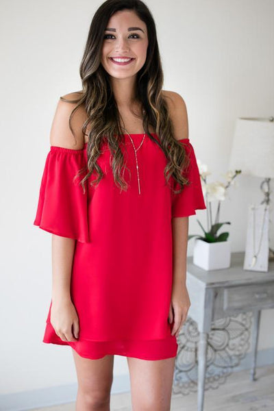Make You Miss Me Layered Dress - Red-Dresses-Lotus Boutique-Lotus Boutique