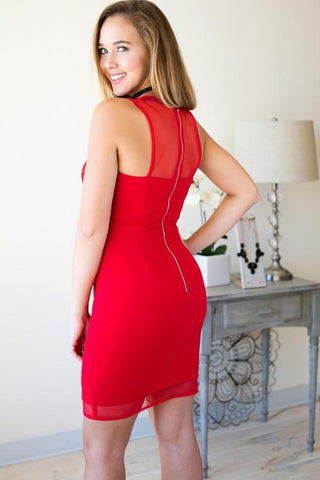 Rich Red Mesh Cut Out Body-Con Cocktail Dress