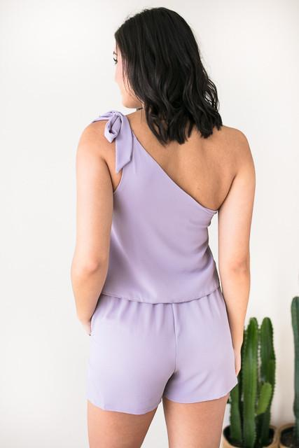 Rompers - Beyond Me One Shoulder Romper - Lilac