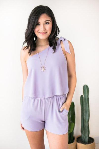 Rompers Beyond Me One Shoulder Romper - Lilac - Lotus Boutique