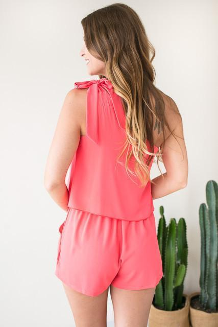 Rompers Beyond Me One Shoulder Romper - Neon Coral - Lotus Boutique
