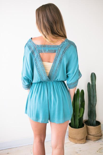 Rompers Boho Traveler Crochet Teal Romper - Lotus Boutique