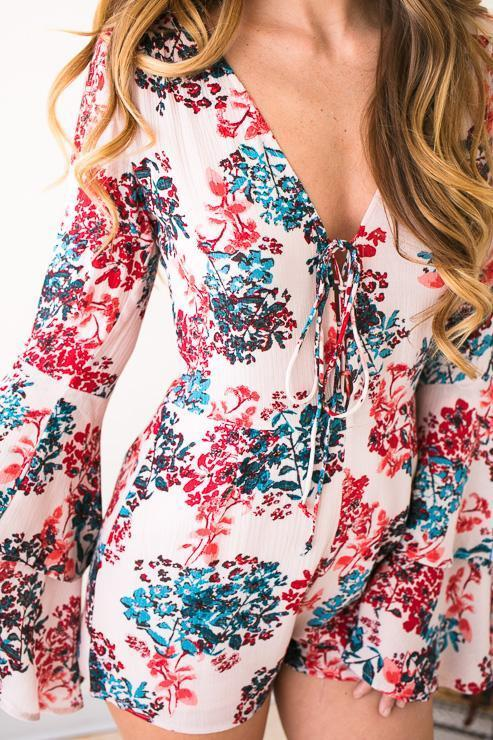 Rompers Cherry Blossom Floral Romper - Lotus Boutique