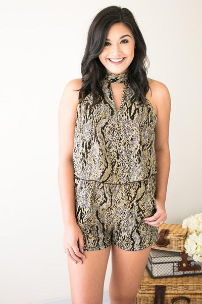 Rompers Cold Hearted Snakeskin Romper - Lotus Boutique