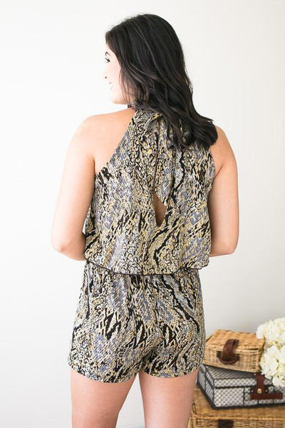 Rompers - Cold Hearted Snakeskin Romper
