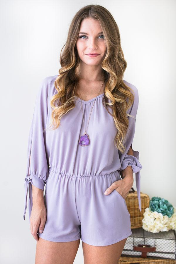 10e5b32605f4 Rompers Flatter Me Lilac Long Sleeve Romper - Lotus Boutique