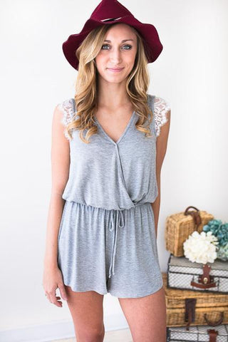 Grey Momentum Lace Shoulder Romper