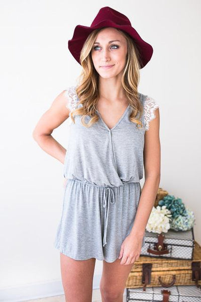 Rompers Grey Momentum Lace Shoulder Romper - Lotus Boutique