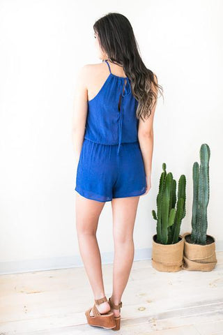 Hug Me Like a Halter Neck Romper - Blue