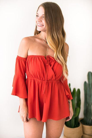 Look Out Mini Off Shoulder Romper