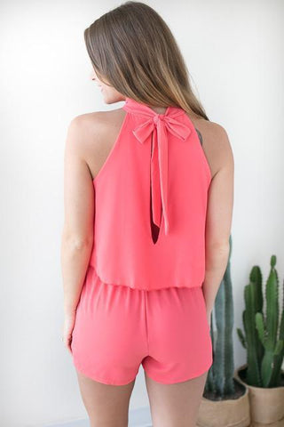 No Limit Romper with Pockets - Neon Coral