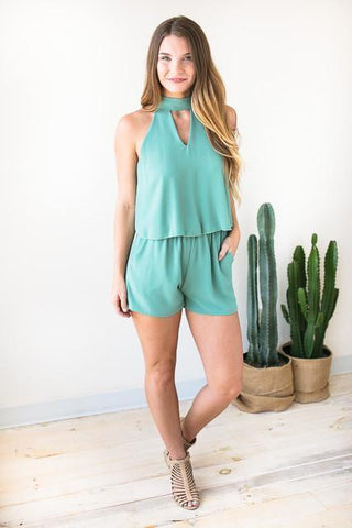 No Limit Romper With Pockets - Sage