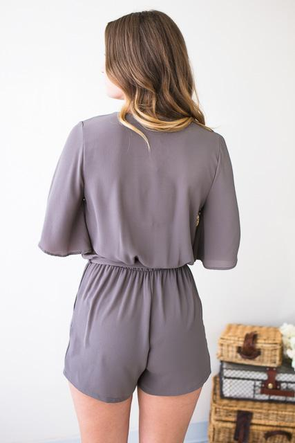 Rompers - Perfect Poise Flutter Sleeve Grey Romper