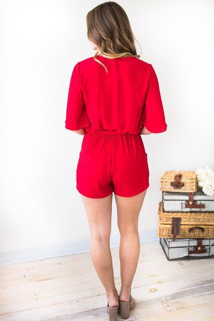 Rompers - Perfect Poise Flutter Sleeve Red Romper