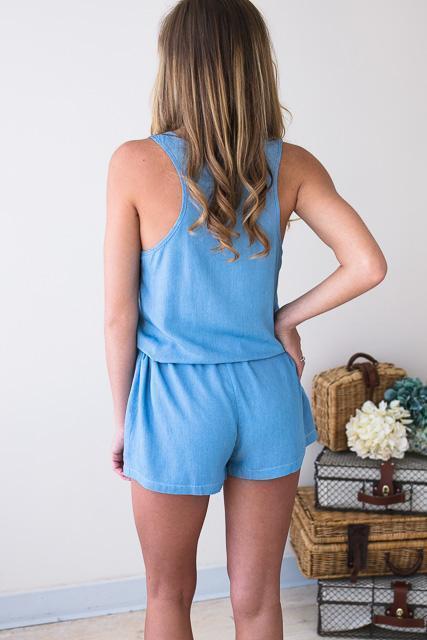 Rompers Perfect Reminder Chambray Tank Romper - Lotus Boutique