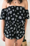 Rompers Picking Daisies Off Shoulder Black Romper - Lotus Boutique
