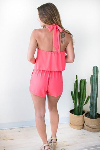 Plot Twist Halter Neck Romper - Coral