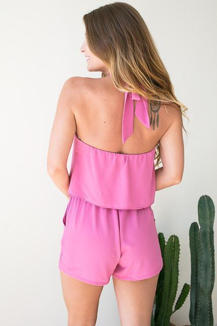 Rompers Plot Twist Halter Neck Romper - Pink - Lotus Boutique