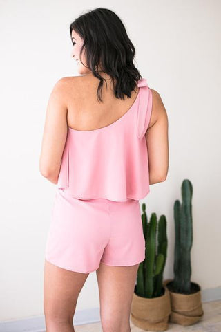 Pretty In Pink One Shoulder Romper