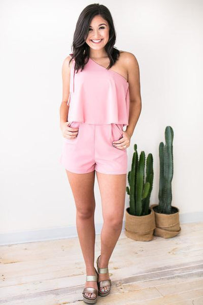 Rompers Pretty In Pink One Shoulder Romper - Lotus Boutique