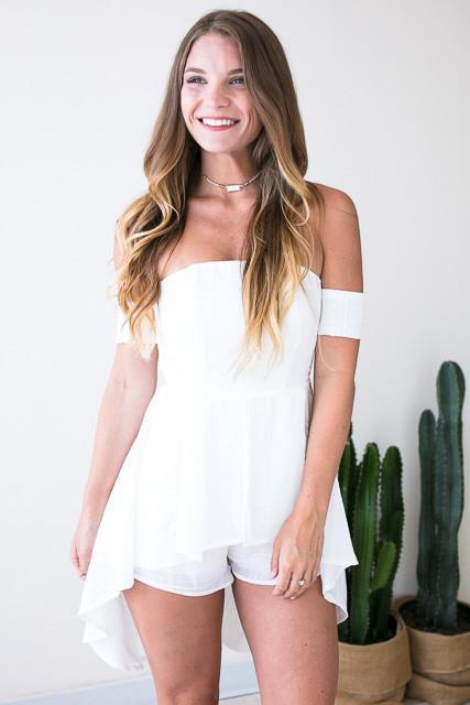 Safe Haven High Low White Romper