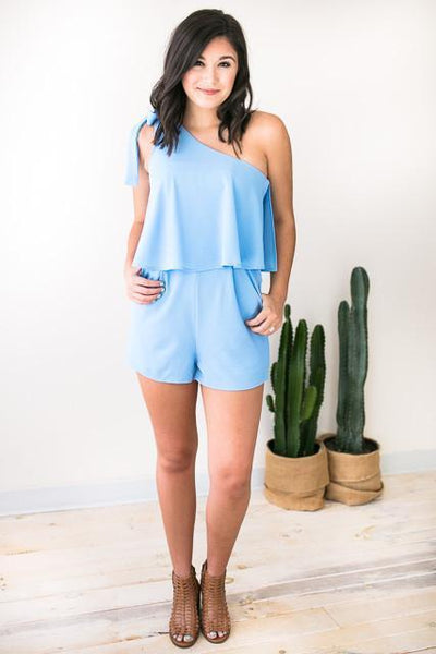 Rompers Sea of Air One Shoulder Romper - Lotus Boutique