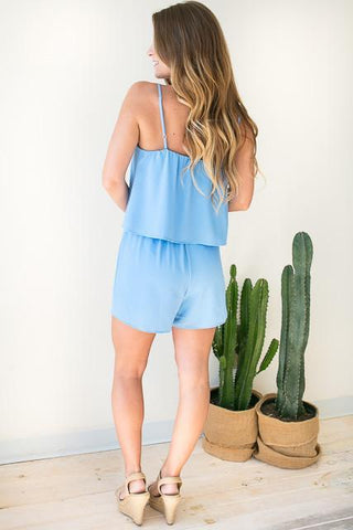 Strawberry Picking Strappy Romper - Blue