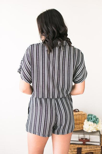 Rompers The Weekend Stripe Shirt Romper - Lotus Boutique