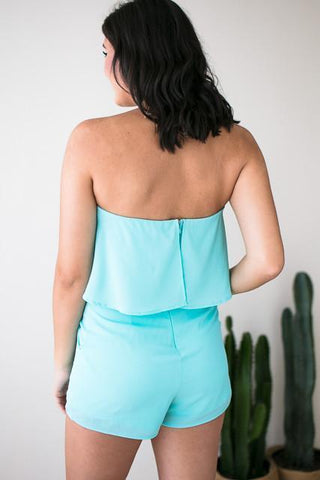 Treasured Turquoise Strapless Romper