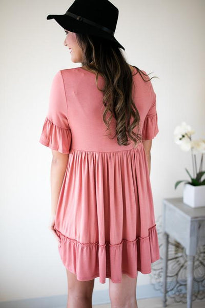 Soft Rose Baby Doll Dress-Dresses-Lotus Boutique-Lotus Boutique