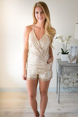 Pursuit of Perfection Gold Sequin Romper