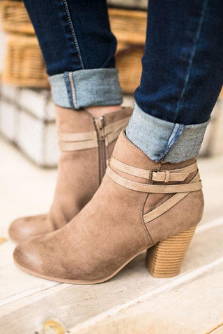 Only The Latest Taupe Bootie With Strap