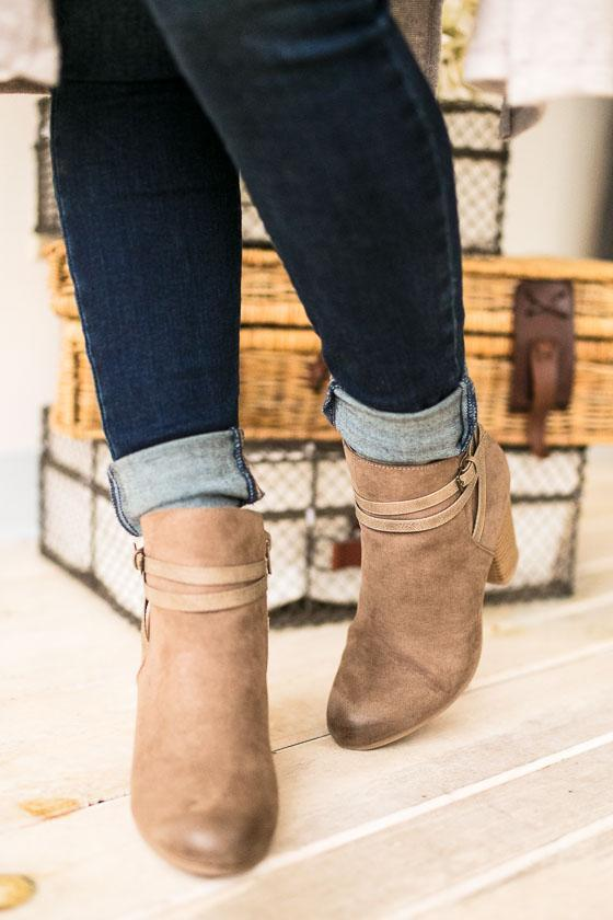 Shoes Only The Latest Taupe Bootie With Strap - Lotus Boutique
