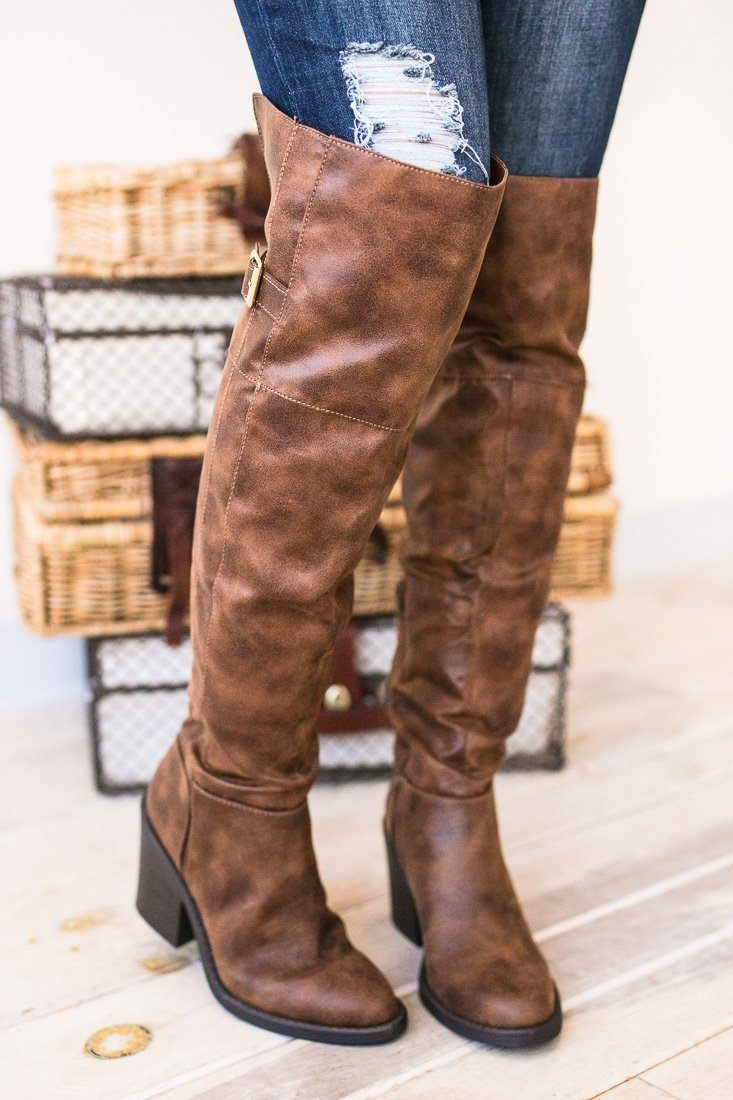 Shoes - You Knee'd Me Over The Knee Brown Boots