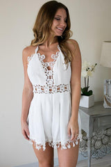 Haute Topic White Lace Detail Romper