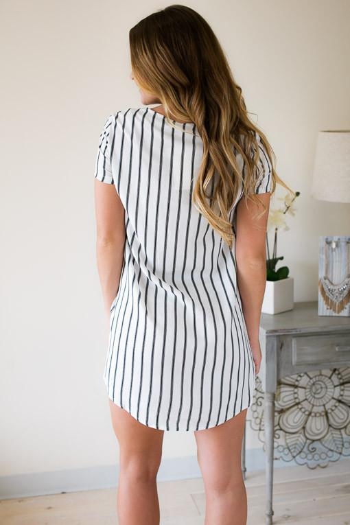 Dresses Earn My Stripes Tunic Dress - Lotus Boutique