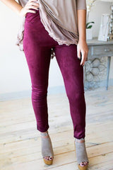 No Surrender Burgundy Suede Leggings