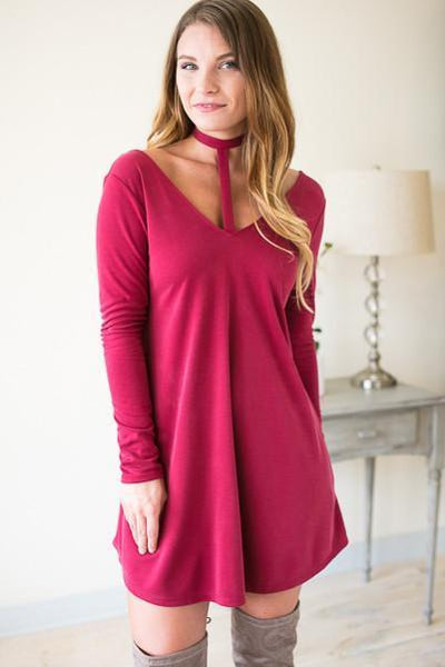 Tangy T-Front Choker Neck Dress- Red - Lotus Boutique