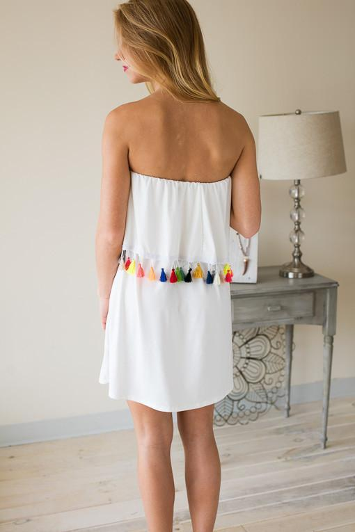 Dresses Rainbow Tassel White Tube Dress - Lotus Boutique