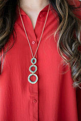 Locked in Love Long Circle Necklace - Teal