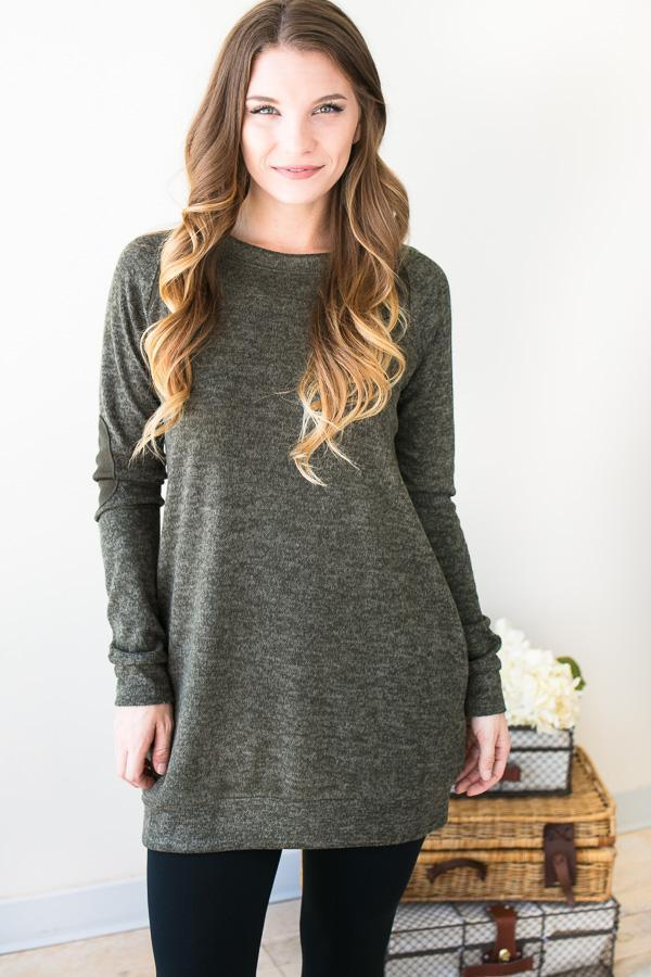 Addie Sweatshirt Tunic With Pockets - Green