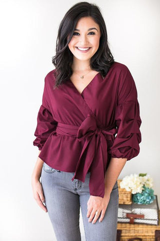 All She Wants Puff Sleeve Wrap Top