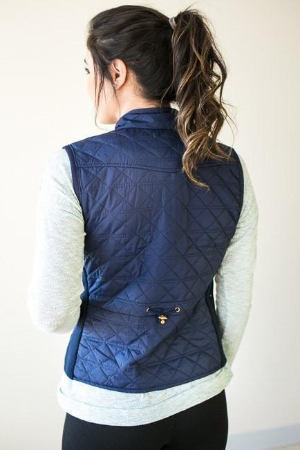 Tops Are You Busy Navy Quilted Vest - Lotus Boutique
